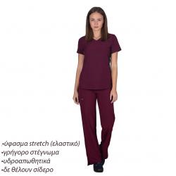 Ιατρική Στολή Γυναικεία Μπλούζα - Παντελόνι (Σετ) Stretch Μπορντώ
