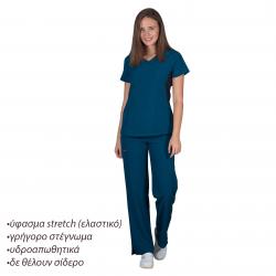 Ιατρική Στολή Γυναικεία Μπλούζα - Παντελόνι (Σετ) Stretch Πετρόλ