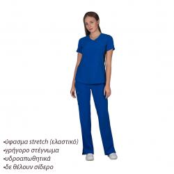 Ιατρική Στολή Γυναικεία Μπλούζα - Παντελόνι (Σετ) Stretch Μπλε