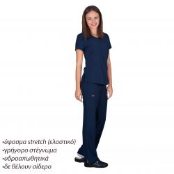 Ιατρική Στολή Γυναικεία Μπλούζα - Παντελόνι (Σετ) Stretch Σκούρο Μπλέ