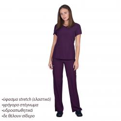 Ιατρική Στολή Γυναικεία Μπλούζα - Παντελόνι (Σετ) Stretch Βαθύ Μωβ