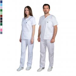 Ιατρική Στολή Μπλούζα - Παντελόνι (Σετ) Unisex  Λευκό