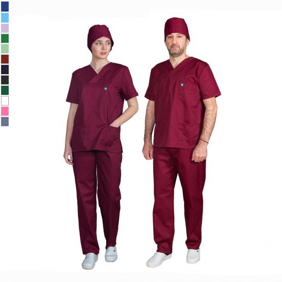 Ιατρική Στολή Μπλούζα - Παντελόνι (Σετ) Unisex  Μπορντώ